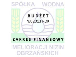 B U D Ż E T NA  2013  ROK Z A K R E S   F I N A N S O W Y