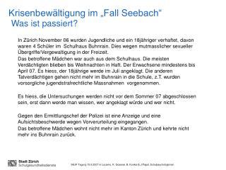 "Krisenbewältigung im ""Fall Seebach"" Was ist passiert?"