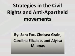 Strategies in the Civil Rights and Anti-Apartheid movements