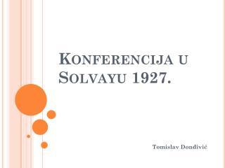 Konferencija u Solvayu 1927.