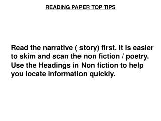 READING PAPER TOP TIPS