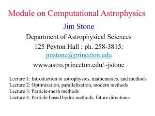 Module on Computational Astrophysics