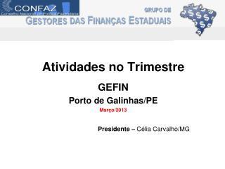 Atividades no Trimestre GEFIN  Porto de Galinhas/PE Mar�o/2013 Presidente �  C�lia Carvalho/MG
