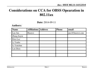 Considerations on CCA for OBSS Opearation in 802.11ax