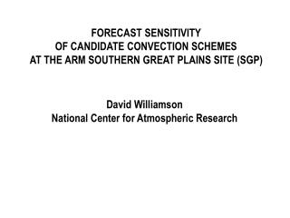 FORECAST SENSITIVITY OF CANDIDATE CONVECTION SCHEMES AT THE ARM SOUTHERN GREAT PLAINS SITE (SGP)