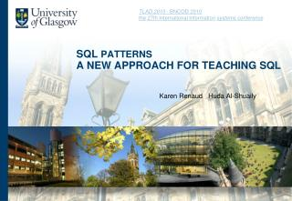 SQL  patterns A NEW APPROACH FOR TEACHING SQL