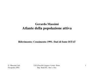 Gerardo Massimi Atlante della popolazione attiva