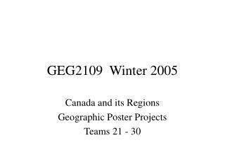 GEG2109  Winter 2005