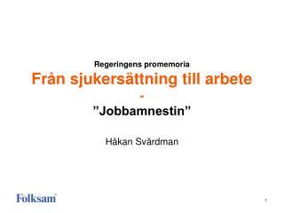 """Regeringens promemoria Från sjukersättning till arbete - """"Jobbamnestin"""""""