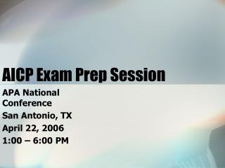 AICP Exam Prep Session