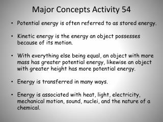 Major Concepts Activity 54