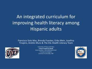 An integrated curriculum for improving health literacy among Hispanic adults