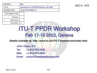ITU-T PPDR Workshop