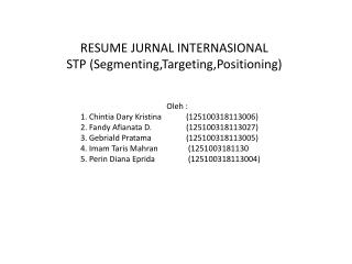 RESUME JURNAL INTERNASIONAL STP (Segmenting,Targeting,Positioning)