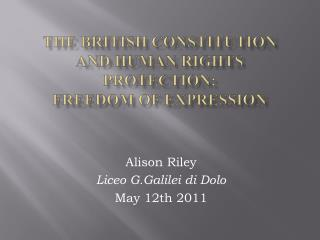 The British constitution and human rights protection:  freedom of expression