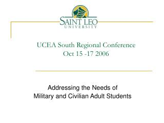 UCEA South Regional Conference Oct 15 -17 2006