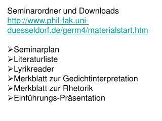 Seminarordner und Downloads phil-fak.uni-duesseldorf.de/germ4/materialstart.htm