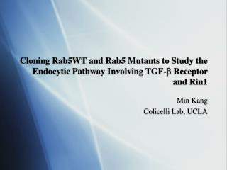 Cloning Rab5WT and Rab5 Mutants to Study the Endocytic Pathway Involving TGF-   Receptor and Rin1