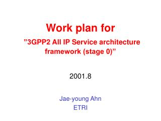 "Work plan for ""3 GPP2 All IP Service architecture framework (stage 0)"""