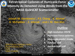 Outline High resolution OSVW Hurricane Force cyclones Mesoscale  model results Forecast skill