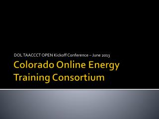 Colorado Online Energy Training Consortium