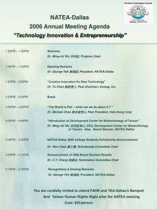"NATEA-Dallas  2006 Annual Meeting Agenda ""Technology Innovation & Entrepreneurship"""