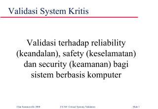 Validasi  System  Kritis