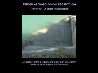 ZEUGMA ARCHAEOLOGICAL PROJECT 2000 Trench 13 – A Short Presentation