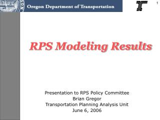 RPS Modeling Results