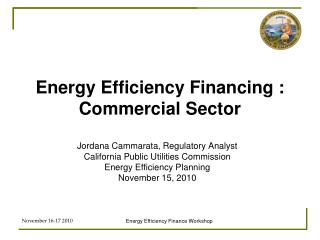 Energy Efficiency Financing : Commercial Sector