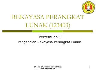 REKAYASA PERANGKAT LUNAK (123403 )