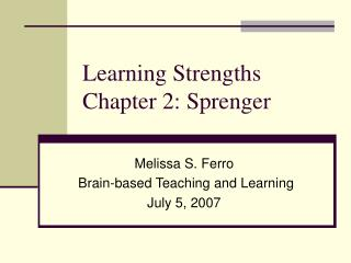 Learning Strengths Chapter 2: Sprenger