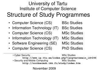 Structure of Study Programmes