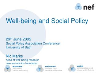 Well-being and Social Policy   29th June 2005 Social Policy Association Conference,  University of Bath  Nic Marks     h