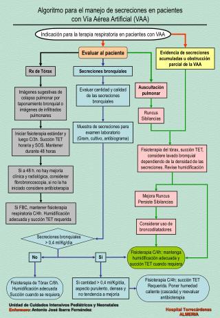 Algoritmo para el manejo de secreciones en pacientes  con Vía Aérea Artificial (VAA)