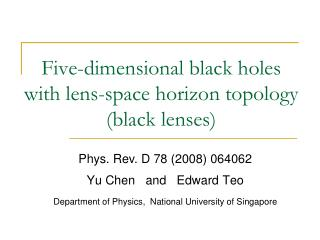 Five-dimensional black holes  with lens-space horizon topology (black lenses)