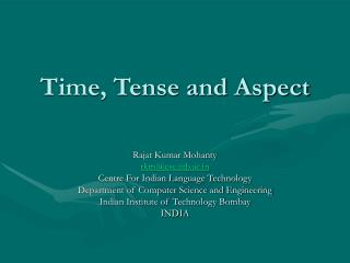 Time, Tense and Aspect