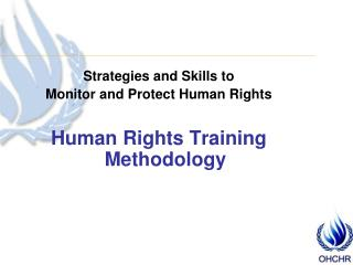 Strategies and Skills to  Monitor and Protect Human Rights Human Rights Training Methodology