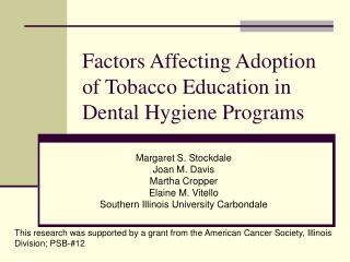 Factors Affecting Adoption of Tobacco Education in Dental Hygiene Programs