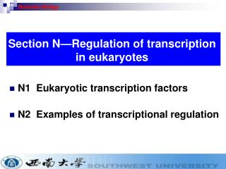 N1  Eukaryotic transcription factors N2  Examples of transcriptional regulation