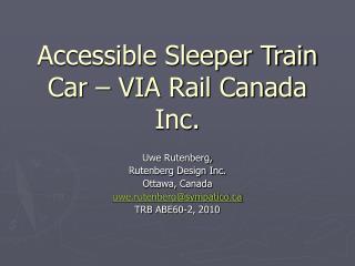 Accessible Sleeper Train Car – VIA Rail Canada Inc.