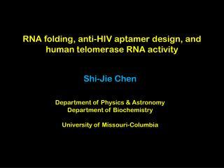 RNA folding, anti-HIV aptamer design, and human telomerase RNA activity