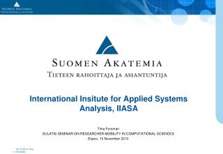 International Insitute for Applied Systems Analysis, IIASA