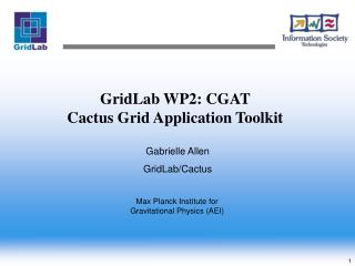 GridLab WP2: CGAT  Cactus Grid Application Toolkit