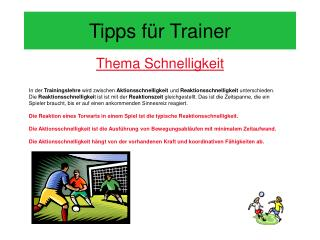 Tipps f�r Trainer
