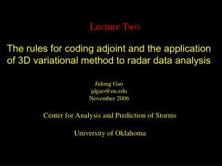 The rules for coding adjoint and the application of 3D variational method to radar data analysis