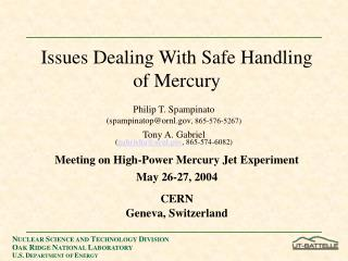 Issues Dealing With Safe Handling of Mercury