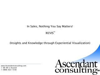 In Sales, Nothing You Say Matters   IKEVIStm    Insights and Knowledge through Experiential Visualization