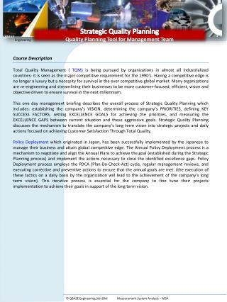 Strategic Quality Planning  Quality Planning Tool fo r Management Team