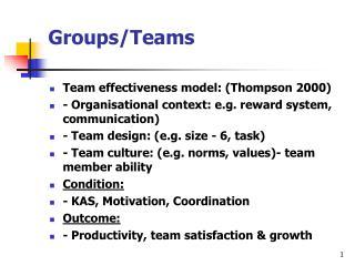 Groups/Teams